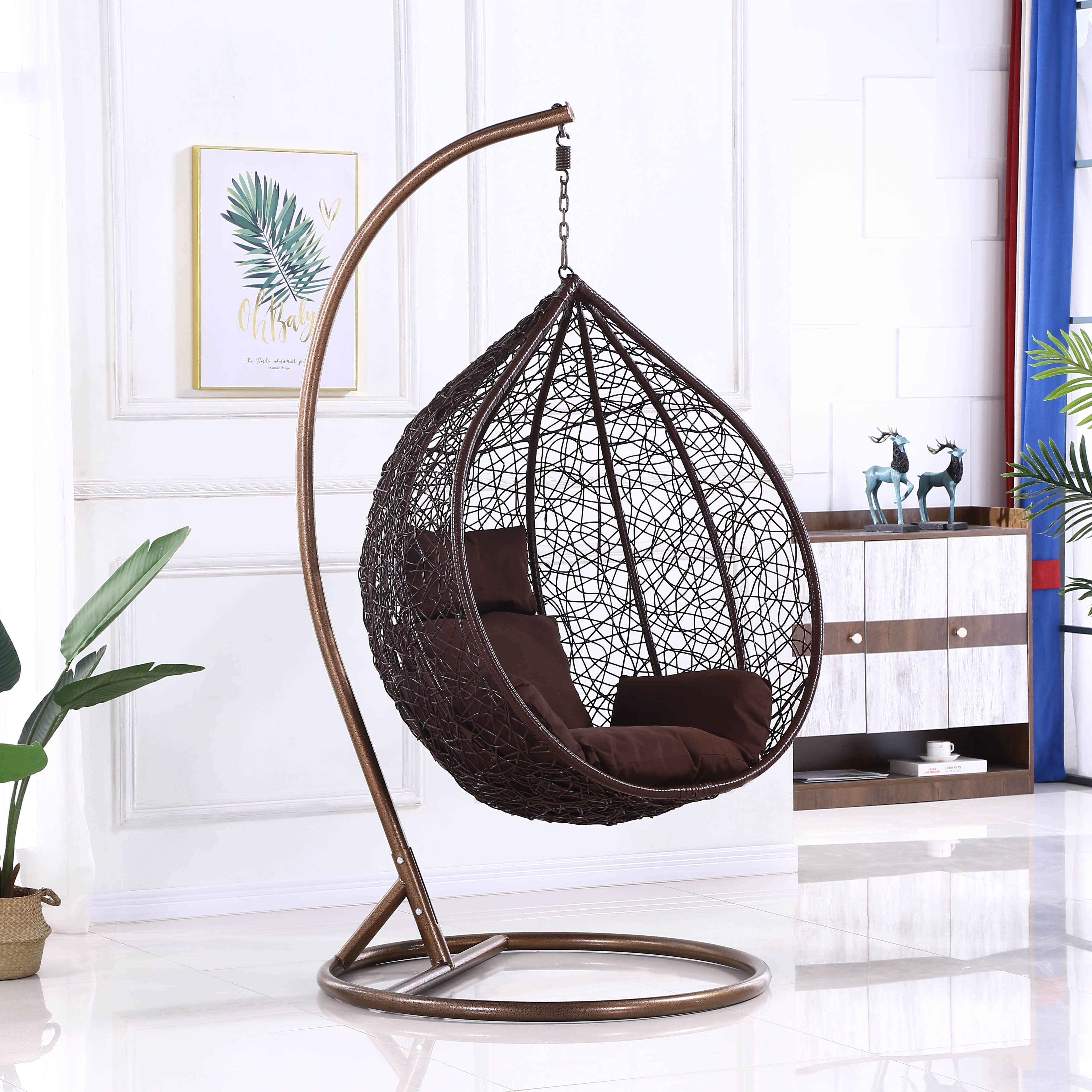 Hot Sell Outdoor Hanging Rattan Egg Chair Leisure Wicker Patio Swing Chair