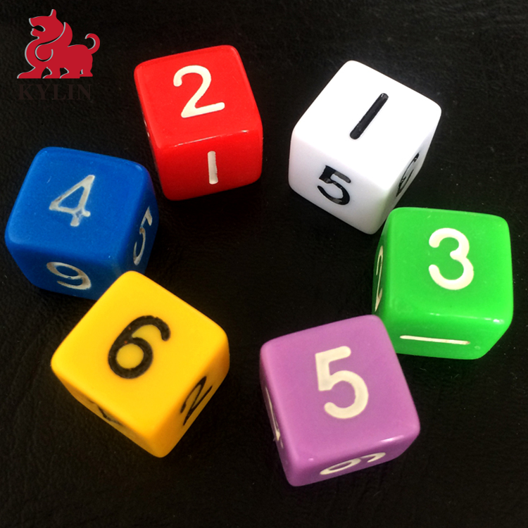 OEM Acrylic dice factory produce plastic printed game custom dice