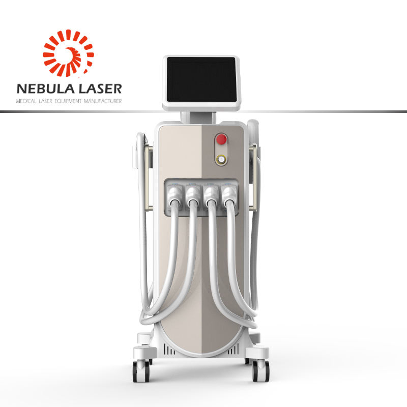 4 in 1,no channel 808nm diode laser hair removal + laser tattoo removal + E-light + RF