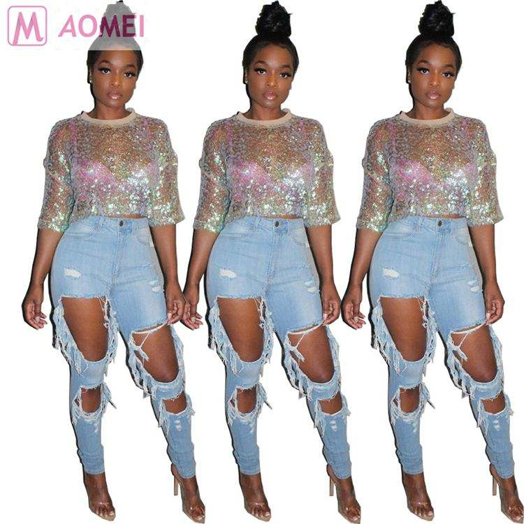 F1114 new fashion summer night club wear half sleeve sequined sexy women clothing crop top