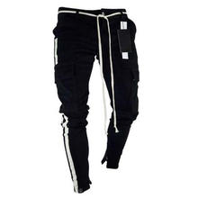 Wholesale black and white side stripe mens cargo jeans for male