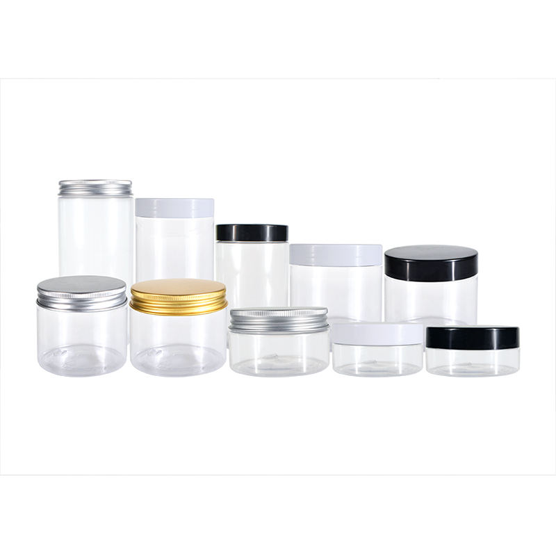 Hot sale large empty 50g 100g 150g 200g 250g 500g food grade clear PET plastic jar for Candy salad