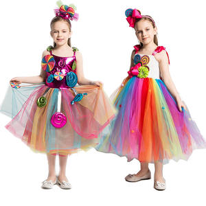 Girls Rainbow Candy Dress Kids Lollipop Modeling Frock Baby Girl Performance Costumes Summer Children Birthday Party Clothes
