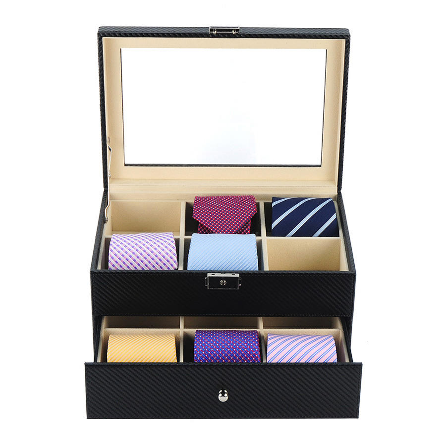 Sonny Leather Box for Tie Packaging High Quality Black Carbon Fiber Tie Box Organizer