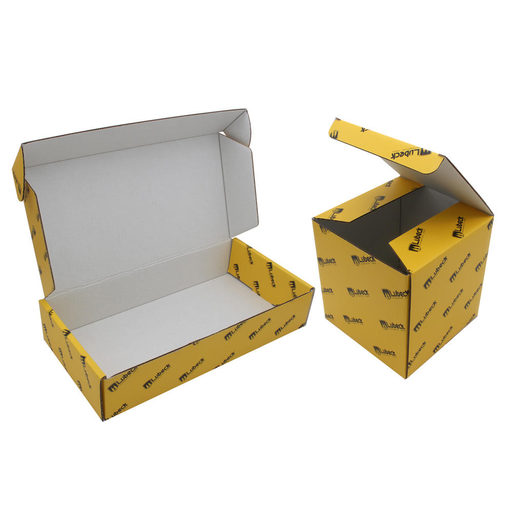 Custom Yellow Packaging Paper Shiping Boxes scatole di cartone Mailer Yellow Shipping Boxes