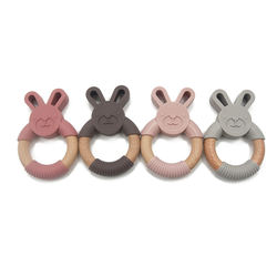 New Arrival Hot Selling 100% Food Grade Walrus Organic Silicone and Natural Beech Wooden Rabbit Shape Newborn Teething Ring