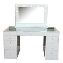 HOT Glossy White Vanity Lighted Vanity Dressing Table with Crystal Knobs