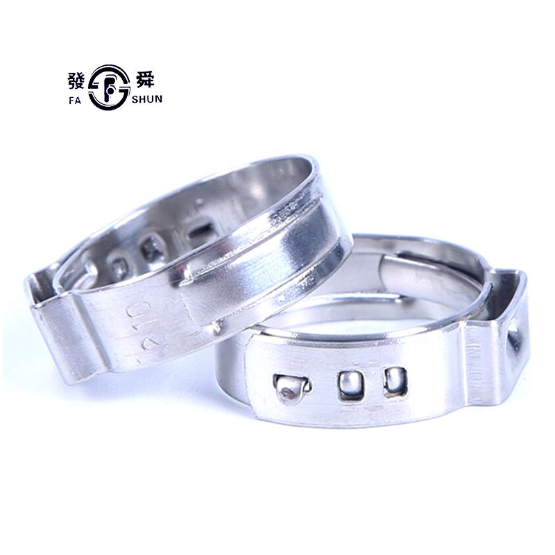 One-Stop Service [ Automotive Hose Clamps ] 304 Hose Clamp Factory Supply Wholesale 304 Stainless Steel Robust Automotive High Pressure Single Ear Hose Clamps