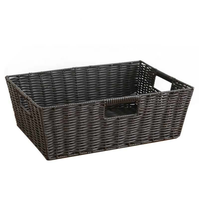 Black White wicker gift basket with handle wholesaler