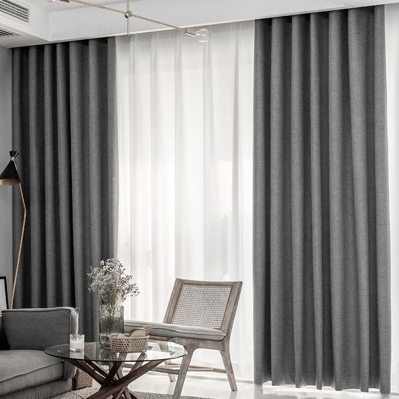 brown coffee grey color polyester fabric bed room linen curtain fabric home and hotel 100% blackout curtains