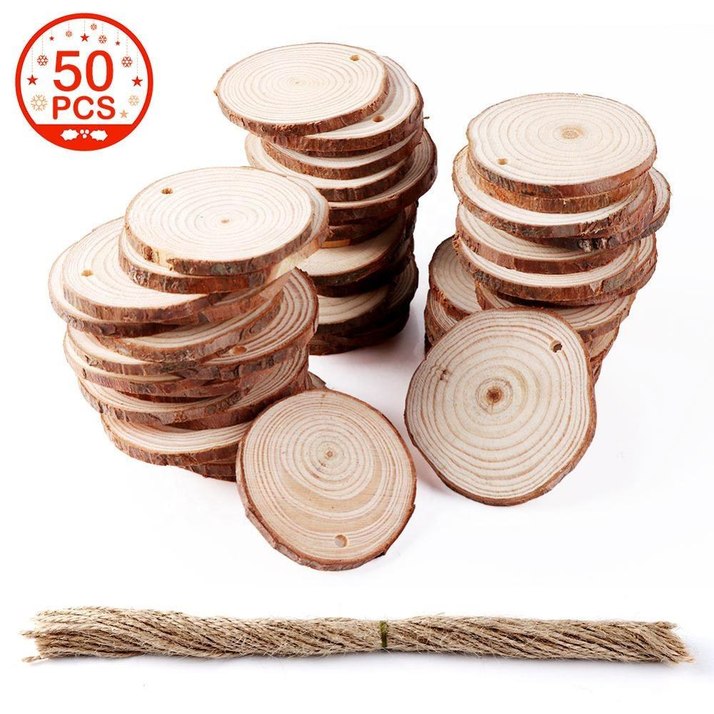 50PCS Natural Wooden Circles Pieces DIY Unfinished Kid Craft 5-6cm Wood Slice for Wedding Christmas Ornaments Decorative