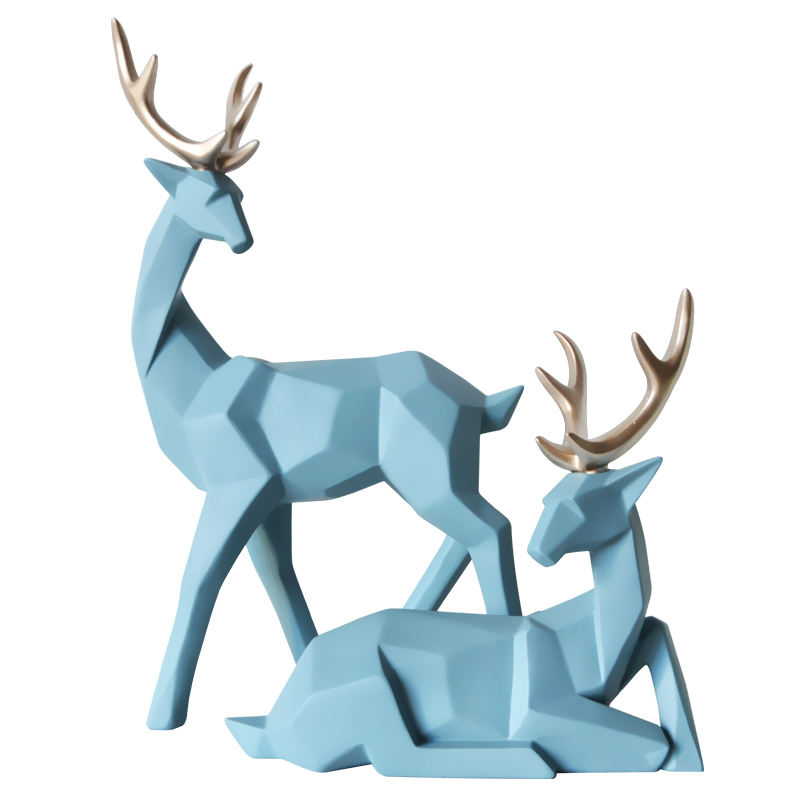 Creative life size Living Room Office Desktop resin interior decoration Deer Statue sculpture For Home Decoration