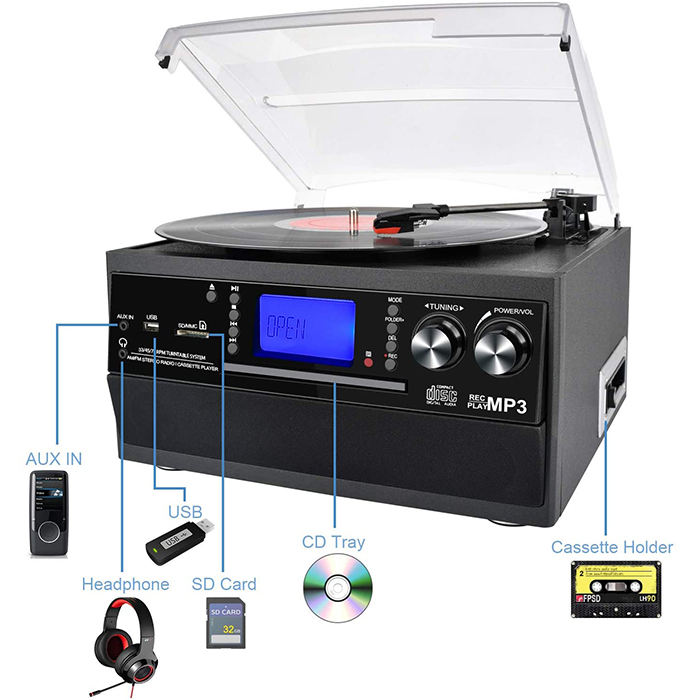 Vinyl Record Player Turntable, CD, Cassette, AM/ FM Radio and Aux in with USB Port & SD Encoding