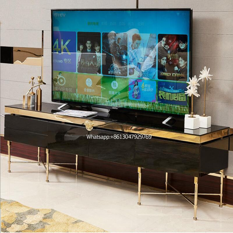 luxury italian furniture high gloss modern tv stand with gold metal legs for living room furniture tv stands