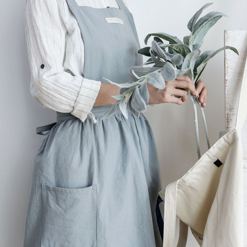 7 Colors Nordic Home Kitchen Women Cotton Canvas Aprons Skirt Overalls for Chef Cooking Flower Cafe Shop Waitress Work Bib Apron