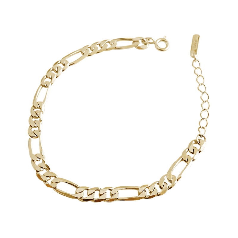 New simple 925 sterling silver 18k gold plated curb figaro chain Bracelet for Christmas