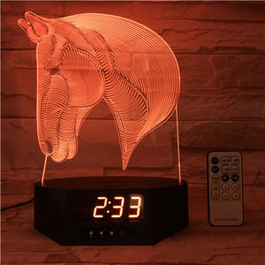 Horse Head Animal shape 3D Led Clock Alarm Lamp 3D illusion plastic base 7 color light Christmas day birthday gift