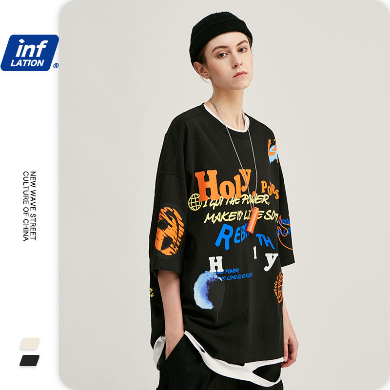 INFLATION Men Graffiti Printing Funny Tshirt Streetwear Style Tshirt Men Oversized T-shirt Hip Hop Boy Tee Shirt Homme