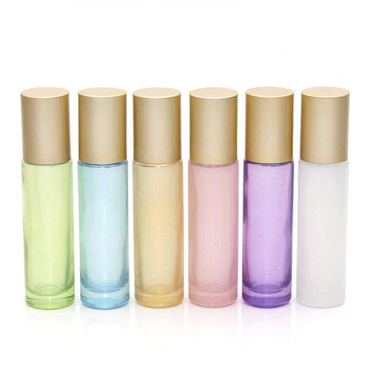 10ml Pearl pink blue Perfume Glass Roller Bottle Matte Gold Lid Cosmetic roll on bottle