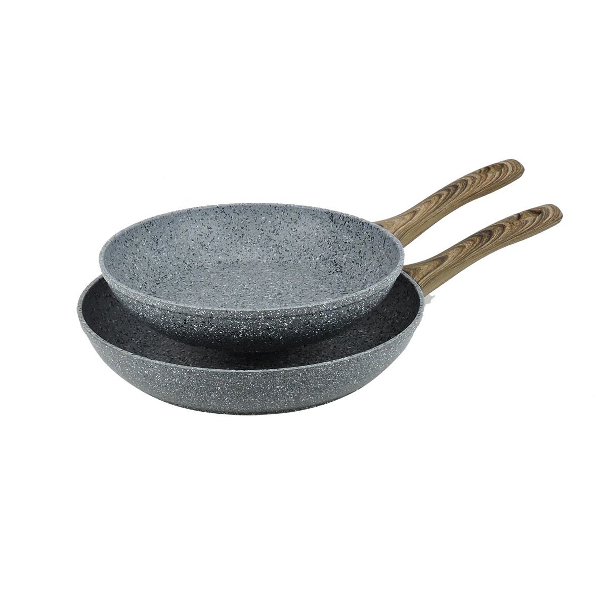 Forged Fry Pan New Arrivals Granite Forged Aluminum Frying Pan Non-stick Granite Pans Sets With Wooden Handle