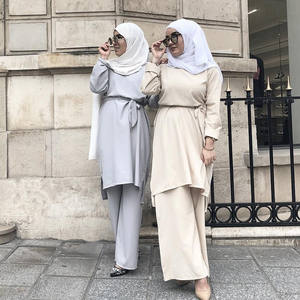 MXCHAN islamic clothing tunic and pant suit for arab women set women pant suit muslim