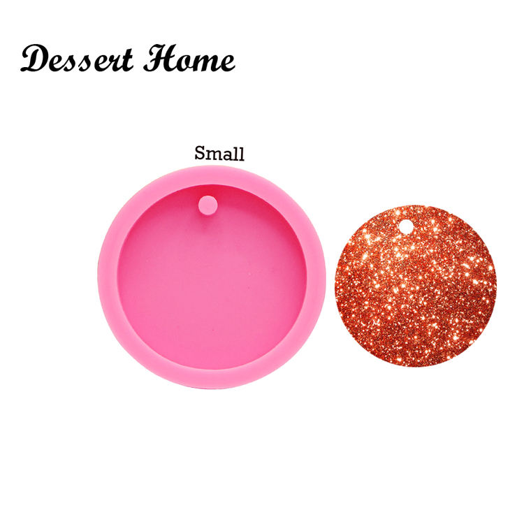 DY0080 DIY Shiny circle keychains epoxy resin molds Round Silicone Mould Dried Resin Decorative Craft DIY