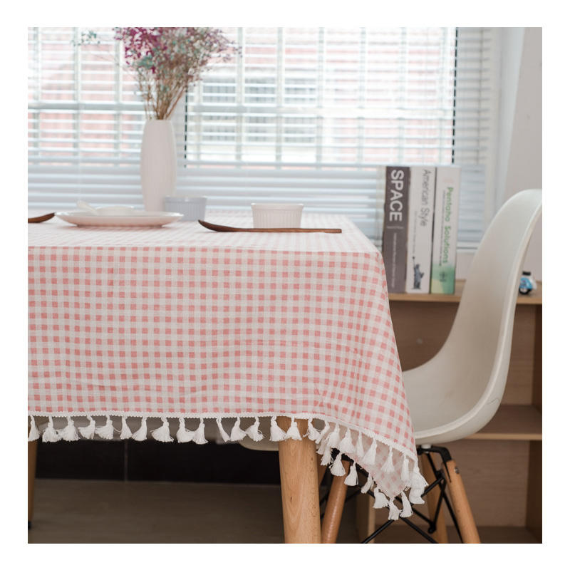 Multipurpose Cotton Linen Red Grid Table Cloth Tea Table Cover Kitchen Tablecloth With Tassel