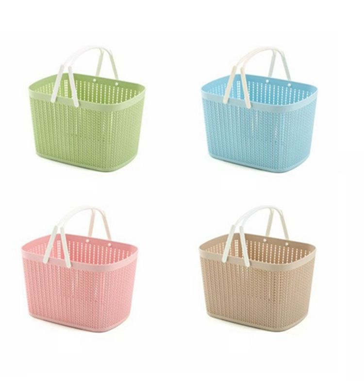 Multifunctional fashion factory direct sales household dirty clothes portable hollow pure color rattan wicker storage basket