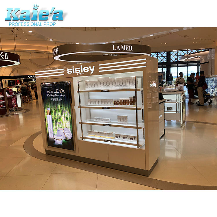 High End Cosmetics Retail Store Fixtures Wooden Cosmetic Shop Display Rack Design Mall Makeup Display Stand For Wholesale