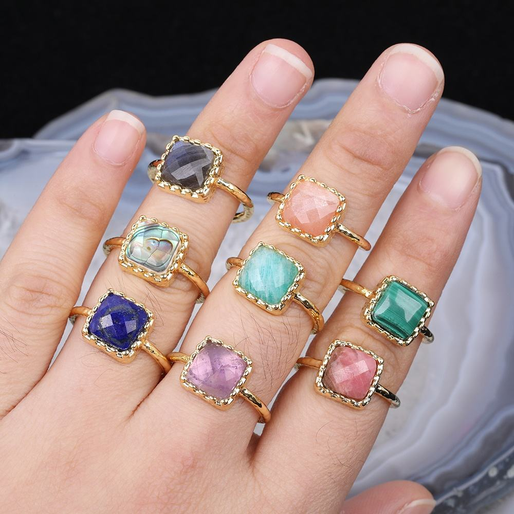 Gems Square Faceted Cabochoin Rings,Rock Natural Amethyst Lapis Labradorite Jade Quartz Gold Rings Jewelry