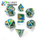 Polyhedron Dice Custom Yellow Green Blue 3 Color Mixed Enamel Metal Dice D&D RPG Game Dice 7pieces Set