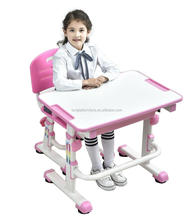 Plastic adjustable kids desk and chair for children furniture sets
