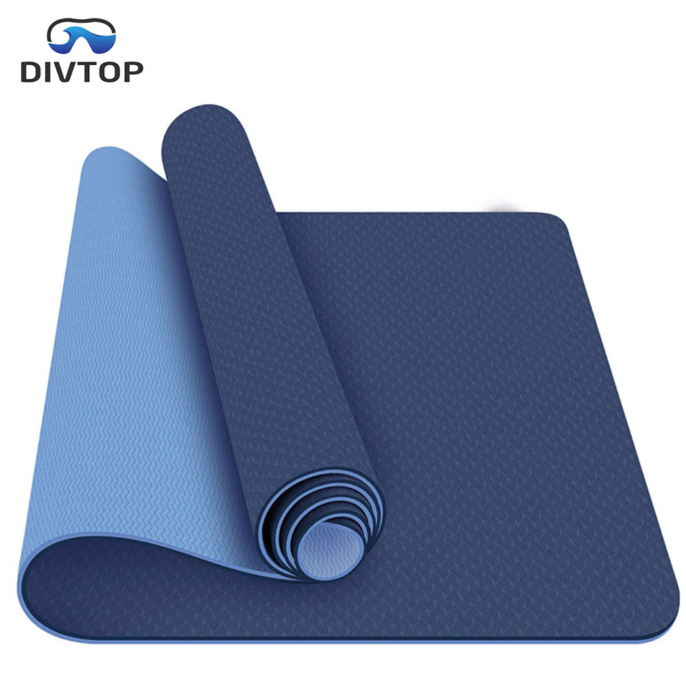 2020 Hotsell Non Slip Double Layer Eco Friendly TPE Yoga Mat, Yoga Pilates 6MM Textured Non Slip Surface Yoga Mats-