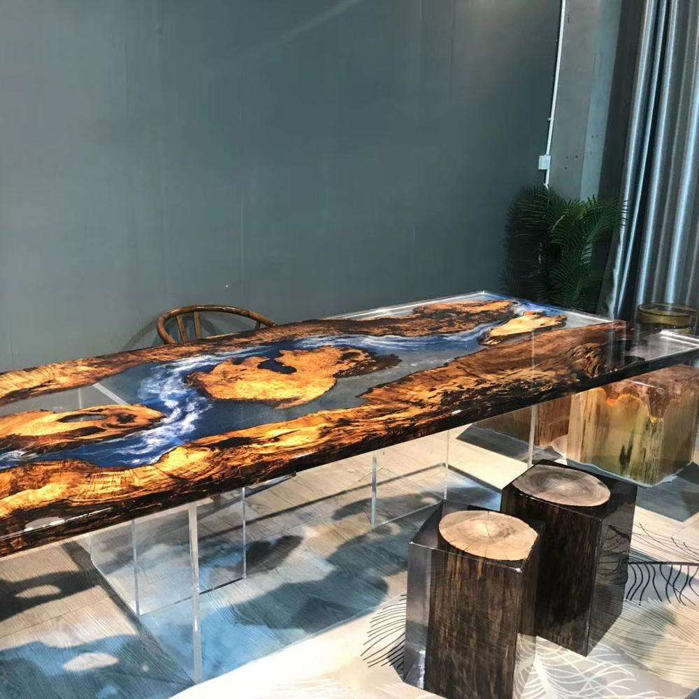 Walnut High End Special Design dinner clear water blue River Epoxy Resin Table