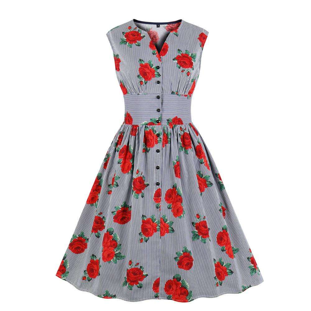Summer women dresses stripes rose print single-breasted hepburn style vintage adults dress