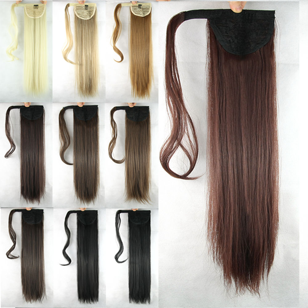 2020 New fashion Long Straight High Temperature Fiber Synthetic Hair Extensions Blonde Pony Tail Hair Drawstring Ponytails