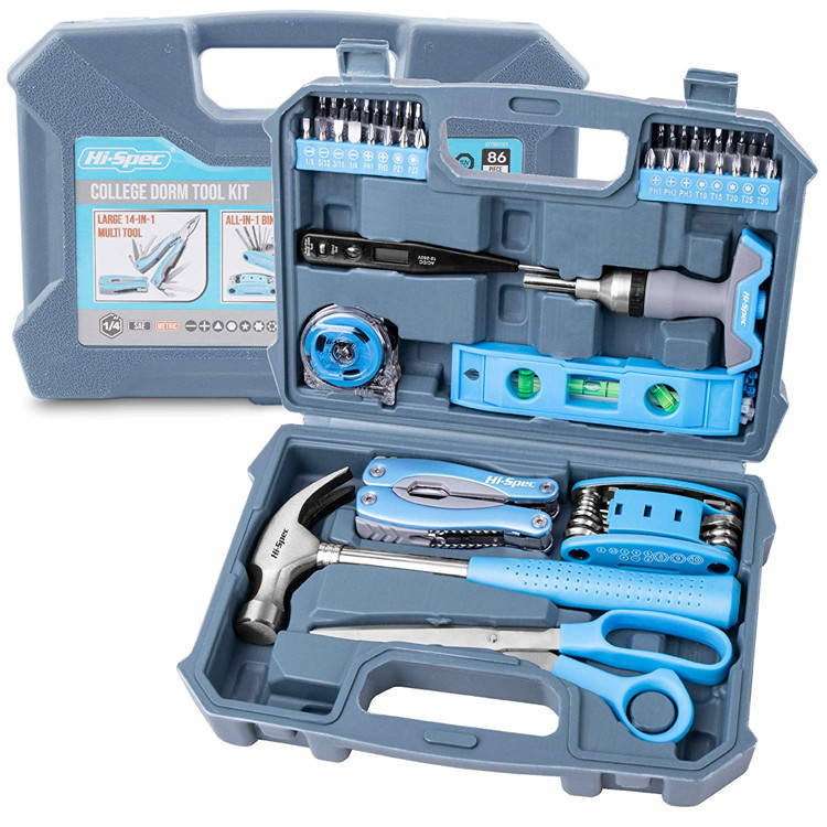 Hispec 86pc College Dorm Thuisgebruik Tool Set Kit met 2-in-1 T Handvat Ratel Bit driver, schroef Bits, Bike Repair Multitool