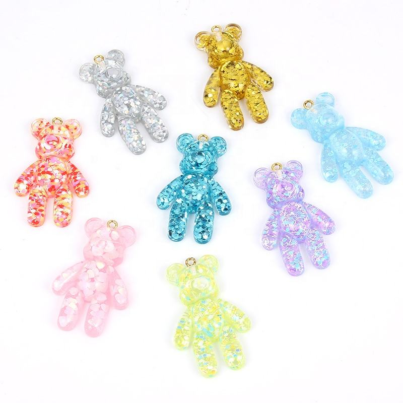28*45mm DIY shiny Violent bear flat back resin charms necklace pendant keychain charms for DIY decoration