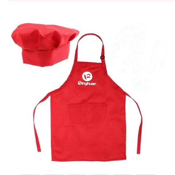 Customized Logo Kids Apron Chef Hat Keep Clean Pocket DIY Cooking Baking Kids Apron Set