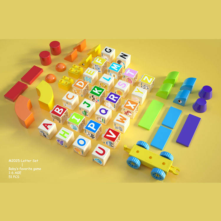 Alilo diy bricks toys 50 PCS For Toddlers Kids Age 3 4 5 6 Year Old ABC english letters words Magnetism Toys Building Blocks