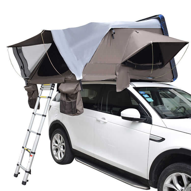 Wholesale 4 person outdoor camping inflatable waterproof cheap folding ultra car roof top tent with diy awning annex