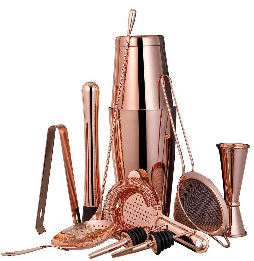 750ML Cocktailshaker Rose Gold Boston Set with Accessories Stainless Steel - 11 Piece Cocktail Shakers Bar Tool Kit
