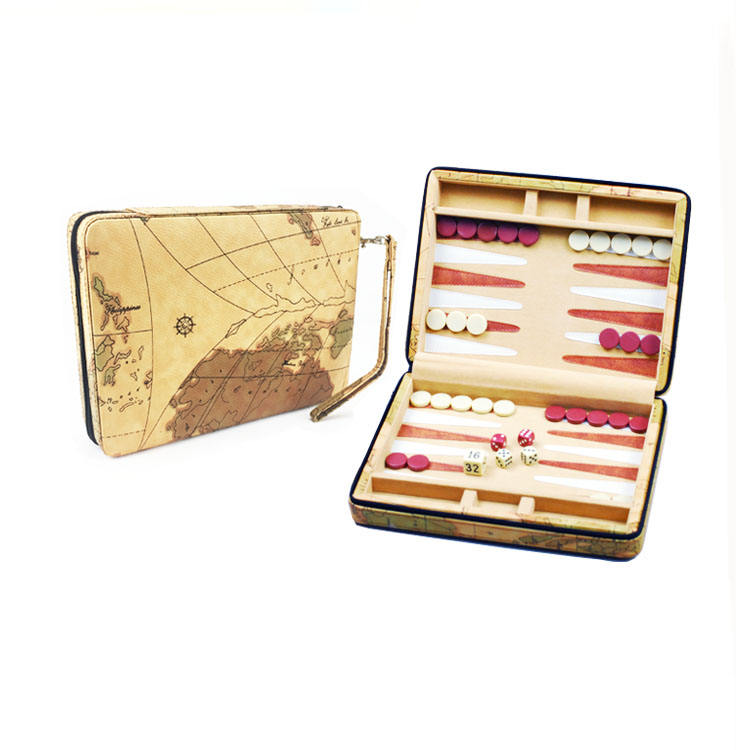 PU Leather World Map Stijl Reizen Backgammon Set