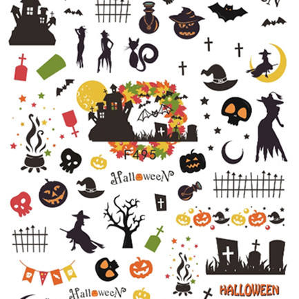 F495-504 Nail Art Decals Manicure Christmas and Halloween Applique Nail Stickers for Nail Decoration