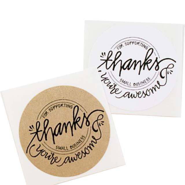 Custom Handmade Round Circle inch Thank You Kraft Paper Stickers Roll