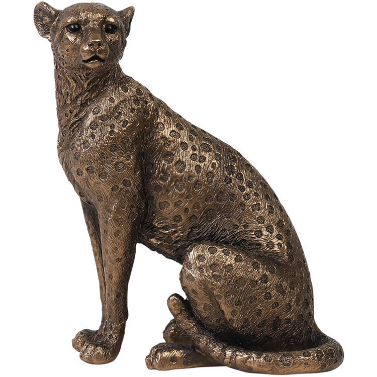 Resin Cheetah Statue for Home Living Room Corridor Office Counter Decoration,Prowling Leopard Sculpture Jaguar Figurine