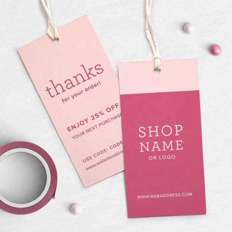 Private Label Luxury Hang Tag, Custom Product Printed Textile Cupon Pink Thank You Tags