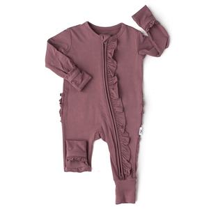 Zip romper mauve ruffle 2 way zip zippered outfit toddler zip outfit foldover foot pajamas bamboo viscose