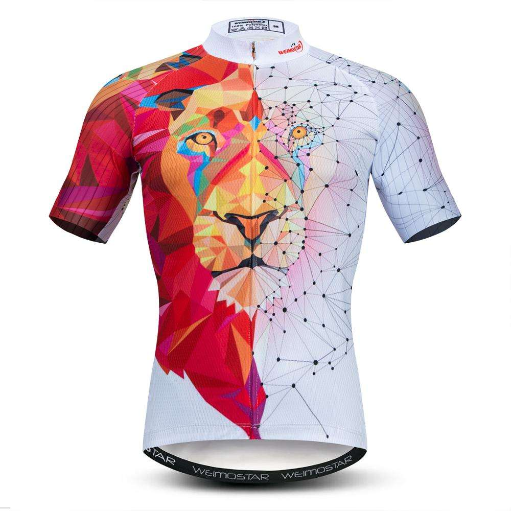 Custom Bicycle 3D Lion MTB Downhill Shirt Men Cycling Jersey Short Sleeve Tops Road Bike Team Summer Sports Clothing Maillot