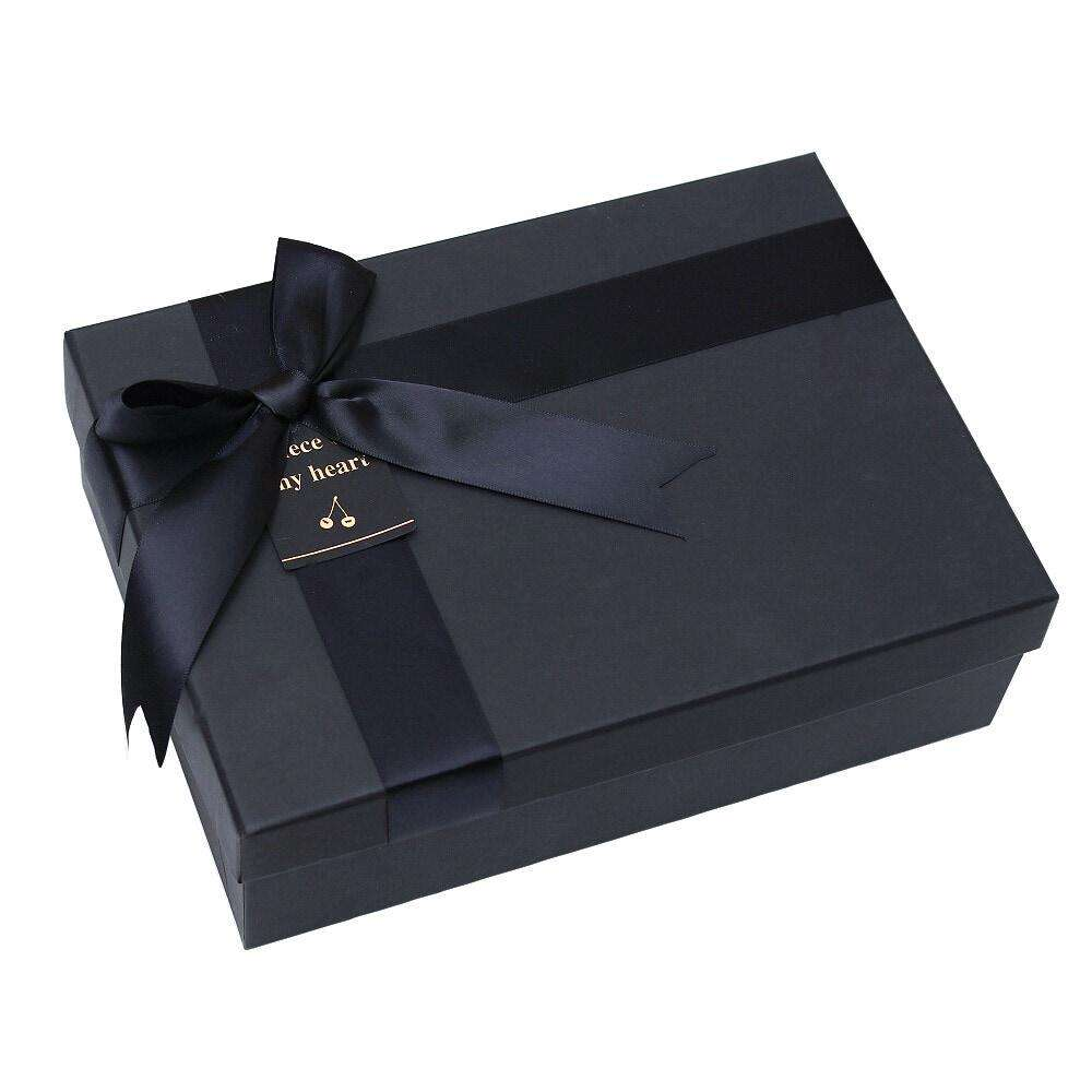 Birthday gift box in stock black gift box set high-end business bow gift box handbag can be customized